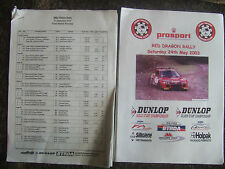 Official Results Class Winners & Stage Times 2003 Red Dragon & 2002 Plains Rally