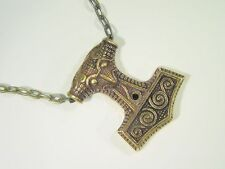 """BUTW REAL SOLID BRONZE Thor's Hammer Mjollnir Norse Viking Odin 20"""" chain 9099D"""