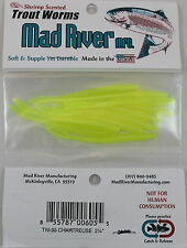 """MAD RIVER 2-1/4"""" TROUT WORMS - CHARTREUSE TW05"""