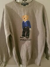 Vtg Men's 90's RALPH LAUREN Polo Sport TEDDY BEAR Golf Gray Sweatshirt Fleece Sm