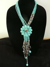 """JOAN RIVERS STARLET TURQUOISE FLOWER 20"""" PLUS 3"""" EXT  BEADED NECKLACE"""