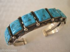 Vintage NAVAJO Stamped Sterling Silver & Square Cabs of Turquoise CUFF BRACELET