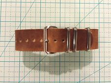 20mm Horween English Tan Dublin Leather military-style handmade Watch Strap Band