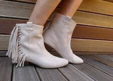 ZARA Beige Flat Leather Suede Cowboy Ankle Boots with Fringes 37 4 BNWT 2154 101