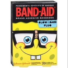 SPONGEBOB BAND-AIDS GLOW IN THE DARK ADHESIVE 20 ASSORTED SIZES NEW