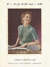VINTAGE 1950'S KNITTING PATTERN PLEATED BLOUSE