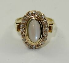 ANTIQUE SOLID 14K  GOLD COCKTAIL RING :20 ROSE CUT OLD MINE DIAMOND & MOONSTONE