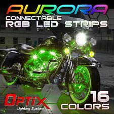 10pcs Motorcycle LED Strip Light Kit RGB Connectable Neon Accent 16 Color (N)