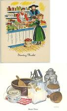 1 VINTAGE BUTTER CHURN PRINT 1 MARKET DAY POTATO SALAD CABBAGE RECIPE NOTE CARD