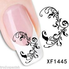 Nail Art Water Decals Transfers Black Lace Flowers UV Tips Decoration (1445)