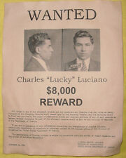 Charles Lucky Luciano Wanted Poster, Gangster, Outlaw, Bank Robber