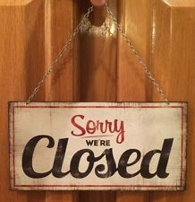 Closed Open Double Sided Wall Decor Door Business Hours Vintage Style Metal Hang