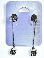 CLAIRE'S, HANGING SPIDER DROP CRYSTAL EARRINGS HALLOWEEN
