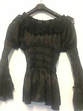 BNWT PIRATE WENCH PEASANT SMOCKED GOTHIC SATIN AND LACE RUFFLE FRILL BLOUSE L