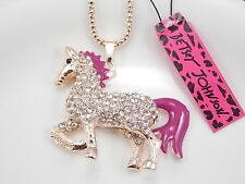 Betsey Johnson personality inlay Crystal horse pendant necklace # F262