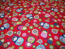 PRINTED COTTON RUSSIAN DOLLS-RED-DRESS/CRAFT FABRIC -FREE P+P