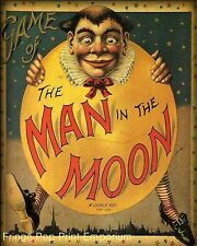 Man in the Moon Art Print 8 x 10 - Victorian Edwardian Art Nouveau - Storybook