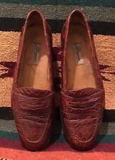 BRAGANO COLE HAAN Real Crocodile Skin Slip-On Loafers Shoes Men's 9M Italy NICE!
