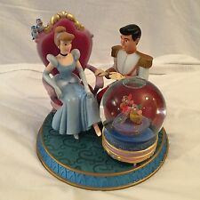 Disney Cinderella Prince Charming With Mice and Glass Slipper Musical Snow Globe
