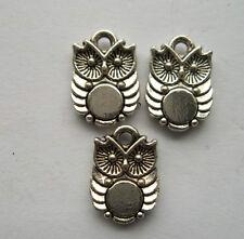 30 pcs Tibetan silver owl charm pendant 14x10mm