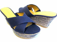 NINE WEST HAVAHA NAVY BLUE CANVAS PLATFORM WEDGE SANDAL WOMAN SHOE SIZE 10.5 M