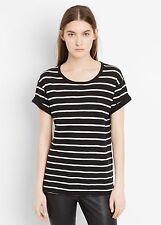 NEW VINCE 85$ Feeder Striped Rolled Short Sleeve Tee Shirt Top black white XXS