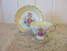 ROSINA Bone China Tea Cup and Saucer Rose Floral Yellow Border Teacup England