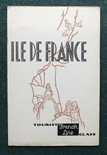 FRENCH LINE CGT SS ILLE DE FRANCE TOURIST CLASS ART DECO BROCHURE APRIL 1937