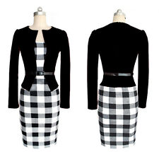 Sexy Womens Long Sleeve Office Wear To Work Party Bodycon Pencil Career Dresses
