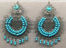 Large Vintage Mexican Sterling Silver Turquoise Filigree FRIDA Earrings