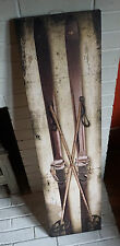 3FT Antique Vintage Snow Ski Skiing Lodge Skier Cabin Canvas Sign Home Decor NEW