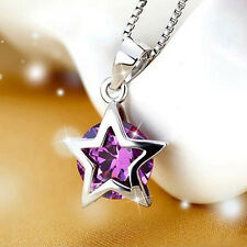Women  Silver Plated Cubic Zirconia Star Pendant Necklace Chain Gift