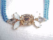 NWT Juicy Couture Pave BLUE Flower Corded Friendship Bracelet BRAND NEW