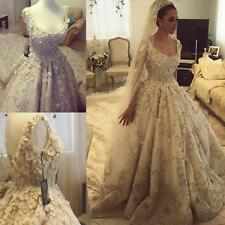 Luxury Wedding Dresses Rhinestones Cathedral Bridal Custom Made Gowns Crystal