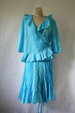 Ralph Lauren Skirt Set Sea Blue Silk Crinkle Skirt & Ruffle Wrap Blouse L/XL 12