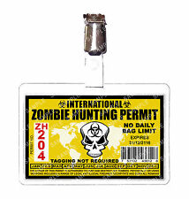 Zombie International Hunting Permit ID Badge Cosplay Prop Comic Con Christmas