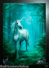 ANNE STOKES BLACK FRAMED FOREST UNICORN - 3D FANTASY PICTURE POSTER 300 x 400mm