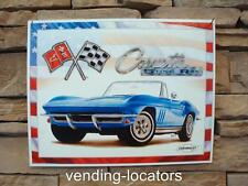 Blue Corvette Sting Ray TIN SIGN Metal Chevrolet Wall Art Garage Decor #69 NEW