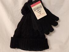 New Girl's OshKosh Sparkly Black Cable Knit Tassel Hat & Gloves Set, Sz 4-6X