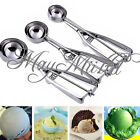3x Stainless Steel Ice Cream Scoop 4/5/6cm Cookie Mash Muffin Spoon Kitchen E