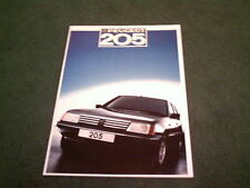 MINT August 1986 / 1987 Model PEUGEOT 205 inc GTi - UK 30 PAGE COLOUR BROCHURE