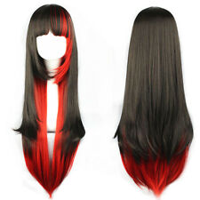 Mix Black Red Cosplay Wig Women's Wigs Lolita Long Straight Party Full Hair Wig