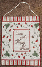 Strawberry Patch ~ Enter With A Happy Heart Tapestry Bannerette Wall Hanging