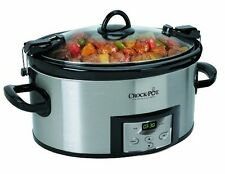 Crock-Pot 6-Quart Programmable Cook and Carry Oval Slow Cooker, Stainless Steel