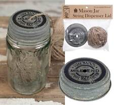 Primitive/Cottage/Country Mile End Mason Jar String Dispenser Lid with String