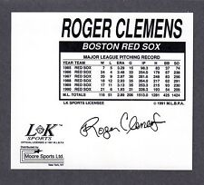 1992  Roger Clemens  BOSTON RED SOX  LK SPORTS MUG DECAL  NM  ( Back Only )