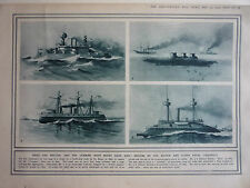 "1914. WW1 PRINT. "" SHIPS THE BRITISH AND THE GERMAN, NAVY MIGHT HAVE HAD."" RARE"