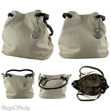 Daniela Moda In Pelle Italian Leather Bucket Tote Handbag Cream and Brown
