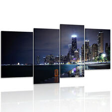 Canvas Prints Home Decor Wall Art Painting- Chicago City Night 4 Panel Unframed