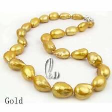 AU SELLER 13mm Huge Barpque Irregular Gold Genuine pearls necklace 010413